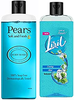 Pears Soft and Fresh Shower Gel, 250ml & Liril Cooling Mint Body Wash, 250 ml