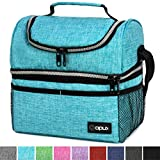 Insulated Dual Compartment Lunch Bag for Men, Women | Double Deck Reusable Lunch Box Cooler with Shoulder Strap, Leakproof Liner | Medium Lunch Pail for School, Work, Office (Aqua Turquoise)