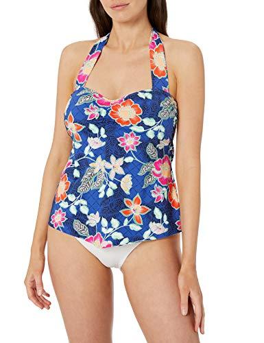 24th & Ocean Women's Retro Bandeau Handkerchief Tankini Swimsuit Top, Cobalt//Folk Garden Patch, L