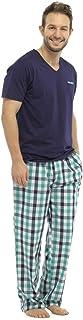 Foxbury Mens Short Sleeve Top & Long Check Trousers Pyjama