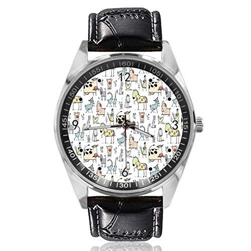 Koe Paard Varkens Kip Schapen Aangepast Ontwerp Analoge Quartz Horloges Zilveren Wijzerplaat Klassieke Lederen Band Dames Horloge