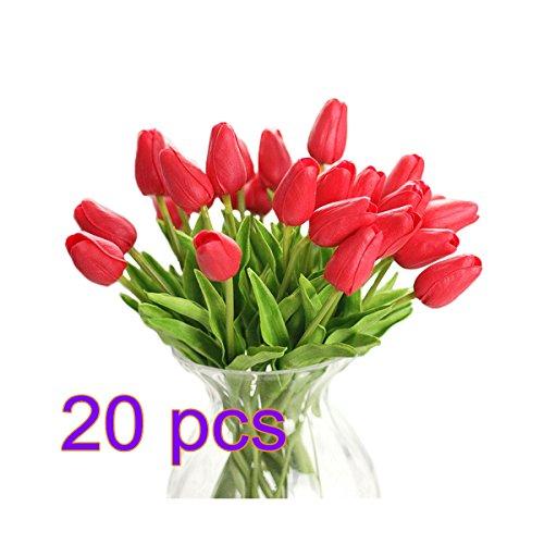 Doolland - 20 piezas de tulipanes artificiales de poliuretano para decoración del hogar, diseño de flores, para bodas y festivales, pu, Naranja, 35 cm