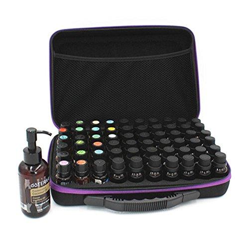 Leo565Tom Boîte Huile Essentielle 60 Trous Aromathérapie Sac de Rangement Coque Rigide Imperméable Trousses de Toilette Sac à cosmétiques contient 15ML