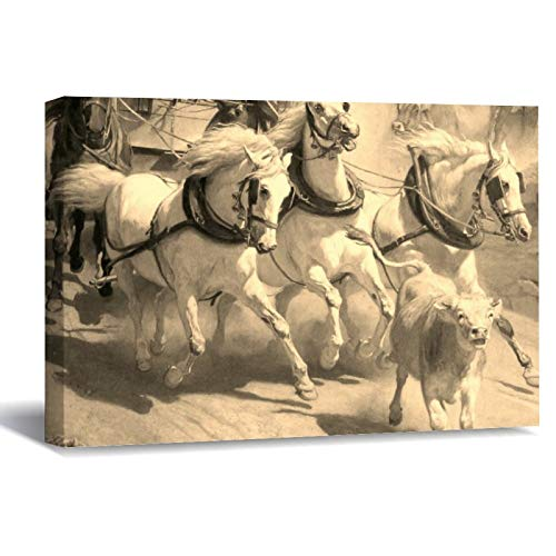 The Gotthardpost Rudolf Vest Horses Horses Canvas Picture Painting Artwork Wall Art Poto Framed Canvas Prints for Bedroom Living Room Home Decoration, Ready to Hanging 8'x12'
