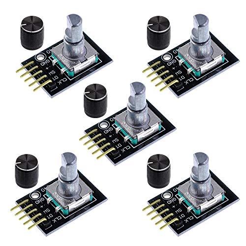 RUIZHI 5 Stück KY-040 Rotary Encoder Modul 360 Grad Drehgeber Drehwinkelgeber mit Druckknopf für Arduino,Raspberry Pi