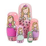 BEIEN Juego de 5 muñecas matrioska rusas, de madera, hechas a mano, para niños, regalo de cumpleaños...