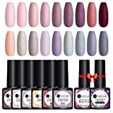 UR SUGAR 7,5ml Smalti Semipermanenti per Unghie, 18+2 Inverno Neve Nuda Grigio Viola Colori Gel Unghie Opaca Matte Top Coat & Base Coat UV LED Soak Off Colori in Gel Kit