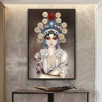 wZUN Pintura Decorativa Pintura de Color de Belleza Antigua Pintura Mural de Estilo Chino Pasillo Mural clásico 60x90 Sin Marco