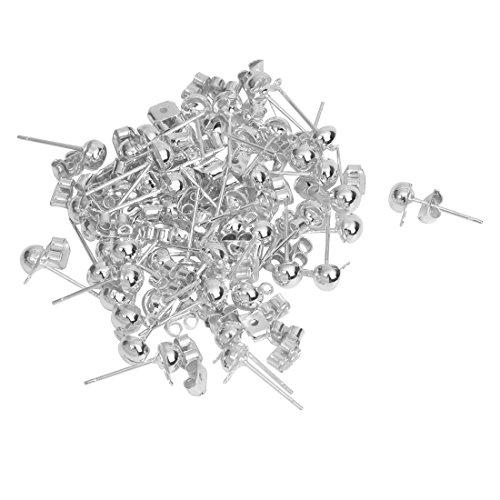 TOOGOO(R) 60X Ohrstecker Metall Rohling Versilbert +Ohrstopper