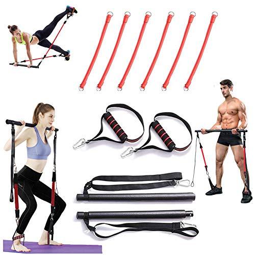 Système de Barre de Pilates Portable Home Gym avec 6 élastiques Amovibles Ajustables Bande de résistance pour Femmes et hommesEntraînement Squat et fessiers Équipement,2