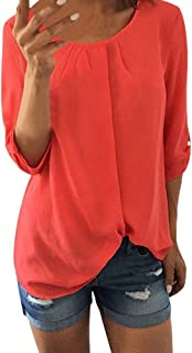 Clearance Sale for Women Tops.AIMTOPPY Casual O-Neck 3/4 Sleeved Pullovers Sweatshirts Top T-Shirt Blouse