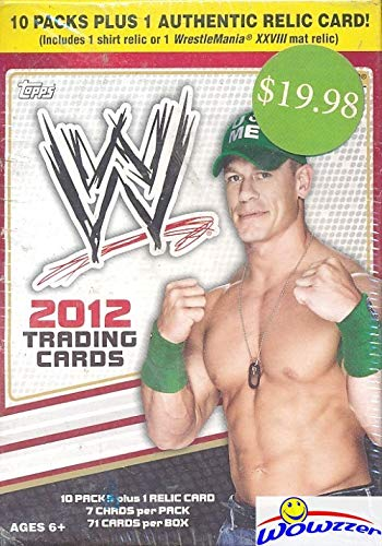 2012 Topps WWE EXCLUSIVE HUGE Factory Sealed 10 Pack Blaster Box with Authenitc WWE RELIC Card! Look for Cards, Auto & Relics of Top WWE Superstars and Legends! WOWZZER!