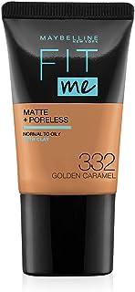 Maybelline New York Fit Me Matte Plus Poreless Foundation Cream, 18 ml - 332 Golden Caramel