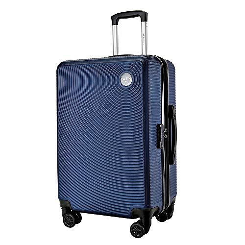 ATX Luggage 24' Medium Expandable Hard Shell Suitcases Trolley Travel Bag Lightweight 2 Year Warranty Durable 8 Spinner Wheels & Built in Lock (24' Medium Expander, Deep Blue)