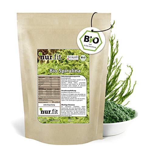 nur.fit by Nurafit BIO Poudre de spiruline 1kg - poudre naturelle pure d'algues spiruline sans additifs provenant de culture biologique contrôlée - spiruline crue en poudre pour Smoothies verts