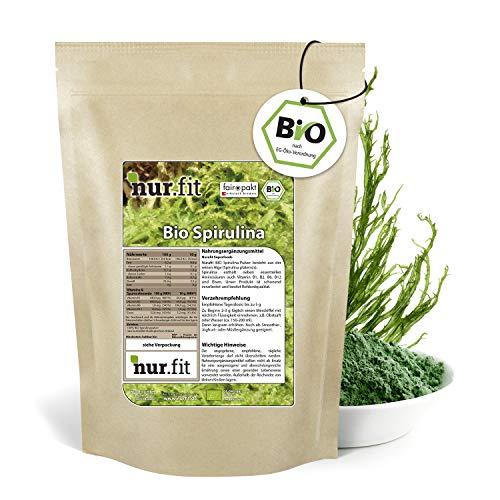 nur.fit by Nurafit BIO Spirulina Pulver 500g – rein natürliches Pulver aus Spirulina Algen ohne Zusatzstoffe aus kontrolliert biologischem Anbau –Green-Smoothie-Pulver in Rohkostqualität