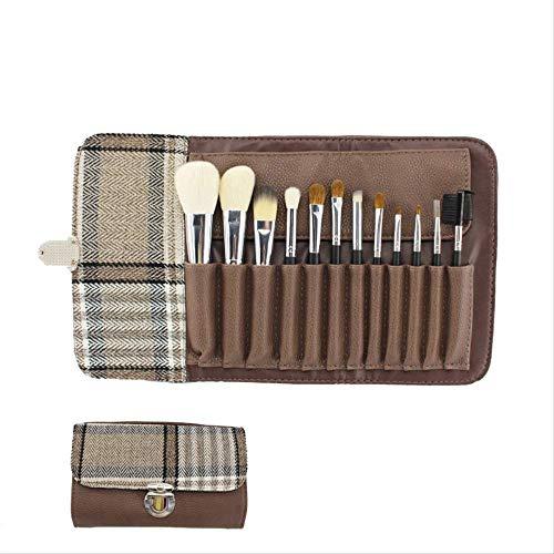WHBLSKY Set de pinceaux de maquillage en laine 12 pinceaux pour débutants Kit de maquillage pour débutants Ensemble complet