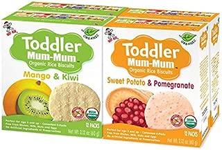 Hot-Kid Baby Mum-Mum Rice Rusks, 2 Flavor Variety Pack, 24 Pieces (Pack of 4) 2 Each: Organic Sweet Potato & Pomegranate/Mango & Kiwi Organic, Gluten Free, Allergen Free, Non-GMO