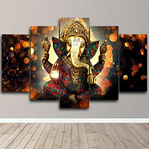 Cuadro Moderno En Lienzo 5 Piezas Lord Ganesha Bhagwan Shiva Cuadro De Pintura Póster De Arte Moderno Oficina Sala De Estar O Dormitorio Decoración del Hogar Arte De Pared 200X100CM