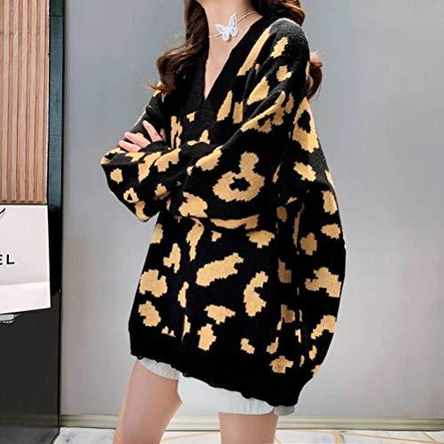 Golden_flower Mode Herbst und Winter V-Ausschnitt Pullover Frauen Locker Lässigen Stil Oberbekleidung Topschwarz, Einheitsgröße