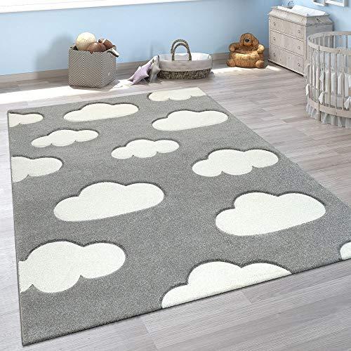 Paco Home Kinderzimmer Teppich Grau Weiß Pastellfarben Wolken Motiv Kurzflor 3-D Design, Grösse:140x200 cm