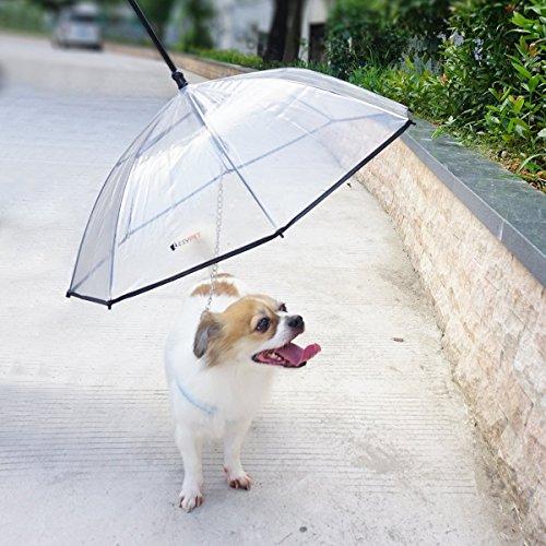 LESYPET Pet Umbrella Dog Umbrella with Leash, Fits 20' Pet's Back Length
