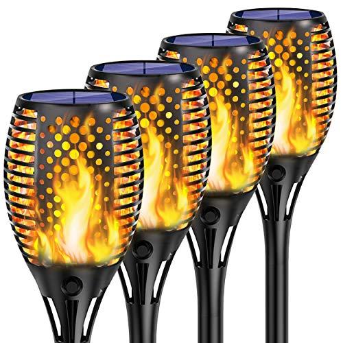 Shinmax Solarleuchte Garten Fackeln,33 LED Solar Fackel mit IP65 Wasserdicht Solar Flammen Solar Garten Beleuchtung Garten Licht Automatische EIN/Aus Weihnachten Deko Straßenlaterne für Festival