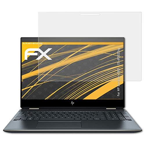 atFolix Panzerfolie kompatibel mit HP Spectre x360-15-df0322ng Schutzfolie, entspiegelnde & stoßdämpfende FX Folie (2X)