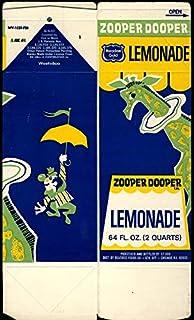 Meadow Gold Zooper Dooper Lemonade 2-quart carton unused 1969 giraffe-motif