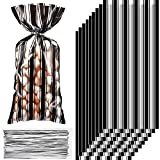 100 Pieces Plastic Black and White Stripe Printed Treat Bags Treat or Trick Bags Clear Cellophane Birthday Party Candy Goodies Bags with 100 Sliver Twist Ties for Christmas Birthday Party Favors