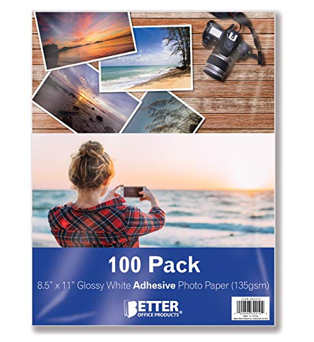 Papel fotográfico autoadhesivo, brillante, 8.5 x 11 pulgadas, 100 hojas, por Better Office Products, 135 g/m², tamaño carta, paquete de 100 unidades