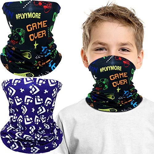 Kids Youth Face Cover UV Protection Bandana Neck Gaiter Scarf with Built-in Filter Pocket for Kids Outdoor Sports (2 Pieces, Fish, Game Theme)
