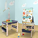 Dripex 9-in-1 Multi Kids Table and Easel, with Storage, Foldable Building Table, Easy-to-Store Art Table, Suitable for Children Aged 3-15, Comes with a Brush, Wipe Board, a Set of Building Blocks