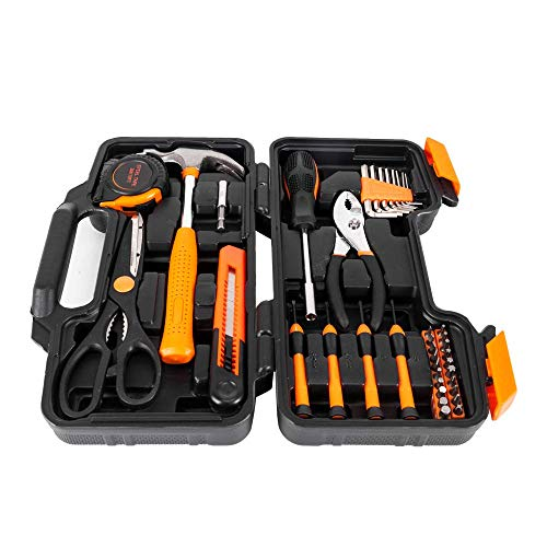 HAOKAN Kit de herramientas para el hogar de 39 piezas, kit de herramientas manuales de reparación del hogar con caja de herramientas portátil, juego de destornilladores naranja