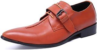 YOWAX Calzado Hombre Zapatos de Cuero de Moda Casual Zapatos de Vestir de Naranja Martin Personalizada Occidental del Cant...
