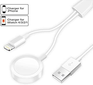 $35 Get Compatible with Apple Watch iWatch Charger, 2 in 1 Wireless Charger Cable for Apple Watch Series 4/3/2/1 and XR/XS/XS Max/X/8/8Plus/7/7Plus/6/6Plus 3