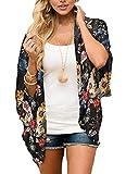 YONHEE Cárdigans tipo kimono floral para mujer - Estampado floral de gasa [Traje de baño] traje de baño para damas [Medio -Amarillo]