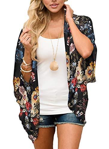 Yonhee Damen Kimono mit Blumenmuster, Chiffon-Druck, lockerer Schal, Strandmode, Boho, Sommerbluse, Bademode, Cardigan für Damen Gr. L, gelb