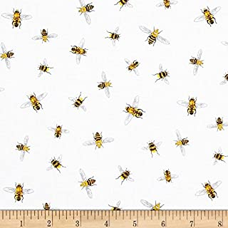 Robert Kaufman Everday Favorites Bees White Fabric By The Yard