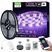 LE LED Strip 5M, Alexa RGB LED Streifen, IP65 Wasserdicht Smart LED Leiste, [nur 2.4GHz] WiFi Hell 5050 LED Band Lichterkette für Haus, Küche, Party, TV, Lichtband Kompatibel mit Alexa, Google Home