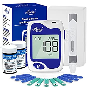 Blood Glucose Monitor Kit - Lovia Diabetes Testing Kit with Blood Sugar Monitor 50 Blood Test Strips 50 Lancets Lancing Device and Carrying Case Glucose Monitoring Kit with Strips No Coding