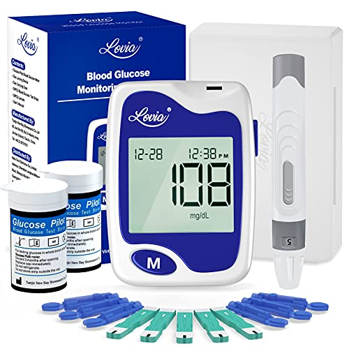 Blood Glucose Monitor Kit - Lovia Diabetes Testing Kit with Blood Sugar Monitor, 50 Blood Test Strips, 50 Lancets, Lancing Device and Carrying Case, Glucose Monitoring Kit with Strips No Coding