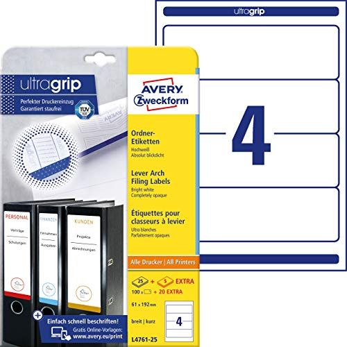 AVERY Zweckform L4761-25 Ordnerrücken Etiketten (mit ultragrip, 61 x 192 mm auf DIN A4, breit/kurz, selbstklebend, blickdicht, bedruckbare Ordneretiketten, 120 Rückenschilder auf 30 Blatt) weiß
