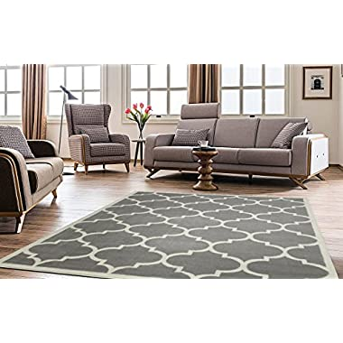 Ottomanson Paterson Collection Contemporary Moroccan Trellis Design Lattice Area Rug, 7'10  X 9'10 , Grey