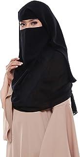 فستان Muslim نسائي أسود اللون من طبقتين و3 طبقات للارتداء الرسمي فستان جورجيت برقة