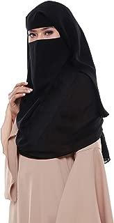 Muslim Women's Black colored Niqab 3 layer Formal Wear Georgette Burka Dress