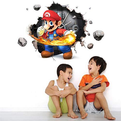 VAINECHAY 3D Vinilo Decorativo Infantil de Pared 3D Super Mario Vinilo Pegatinas Decorativas Adhesiva Pared Dormitorio Salón Guardería Habitación Infantiles Niños Bebés (33 * 47cm)