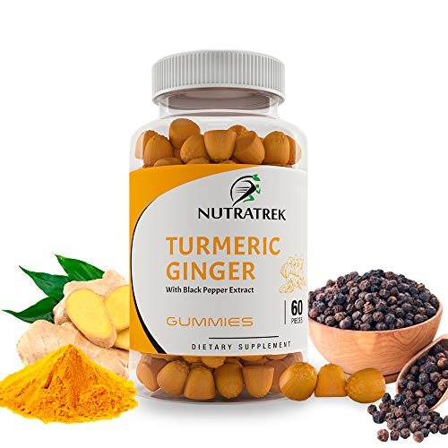 Organic Turmeric Curcumin Gummies with Ginger & Black Pepper - Max Potency, Natural Gummy for Pain Relief, Joint Support, Inflammation, Healthy Skin & Muscles - (60 Ct) Vegan, Non GMO, Peach Flavor