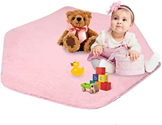 Kids Play Mat Plush Carpet Rug Hexagon Coral Play Mat for Princess Tent (pink-02)
