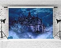 HD神秘的な城の背景バットダークブルーの雲写真の背景子供の誕生日パーティーの装飾の小道具10x7ft綿LHFS865